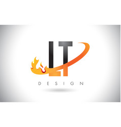 Lt l t letter logo with fire flames design and vector