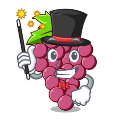 Magician red grapes fruit in cartoon basket vector