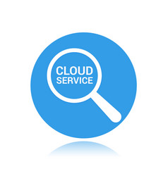 magnifying optical glass with words cloud service vector image