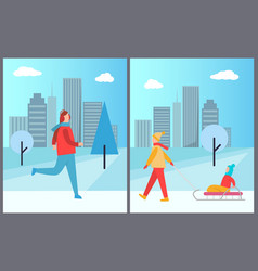 man skiing and woman with kid vector image