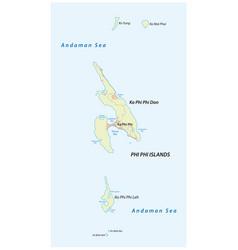 Map thai archipelago phi phi islands vector
