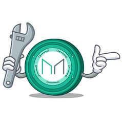 Mechanic maker coin mascot cartoon vector