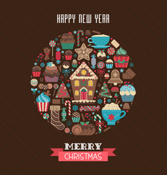 merry christmas greeting card in circle shape vector image