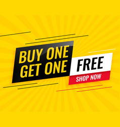 Modern buy one get one free sale yellow banner vector