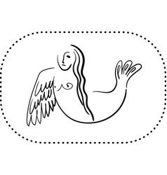 Mythological sirin bird half-woman half-bird in vector