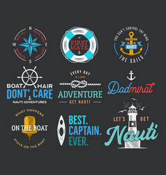 nautical vintage prints designs set for t-shirt vector image