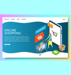 Online shopping website landing page design vector