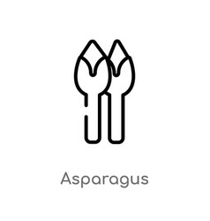 Outline asparagus icon isolated black simple line vector