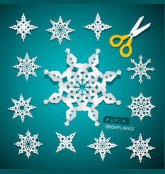 paper cut snowflakes set with scissors on blue vector image