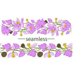 pink lotus seamless brush vector image
