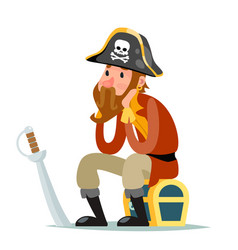 pirate captain sit on treasure chest character vector image