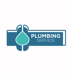 plumbing service logo with pipe and water leakage vector image