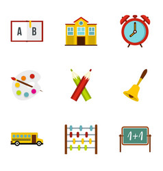 primary school icons set flat style vector image