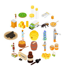 Propolis honey apiary icons set isometric style vector