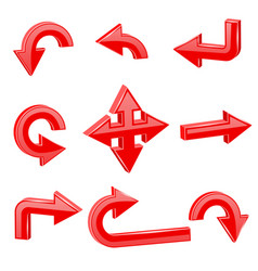 red 3d arrows different directions vector image