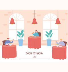 Restaurant social distancing safe distance vector
