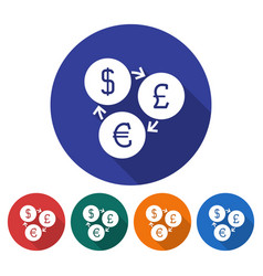 Round icon of currency exchange dollar pounds vector