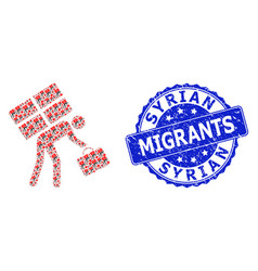 Rubber syrian migrants round seal and fractal vector