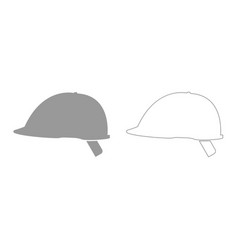 Safety helmet grey set icon vector