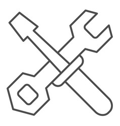 Screwdriver and wrench thin line icon vector