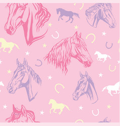 seamless pink pattern with horses vector image