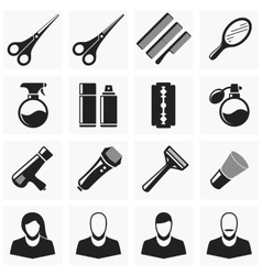 Set hair cut icons vector