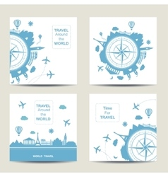 Set of four travel card templates Square cards vector image