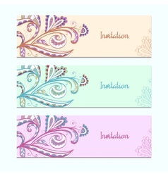 Set of invitation cards with floral ornament vector image