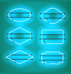 set of realistic glowing blue neon frames vector image