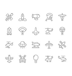 Set simple icons aircraft vector