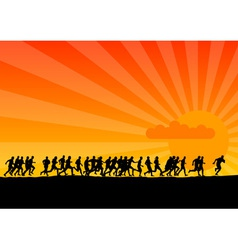 silhouettes of runners vector image vector image