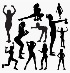 silhouettes woman fitness 2 vector image