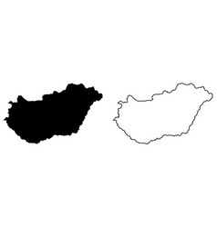 Simple only sharp corners map hungary drawing vector