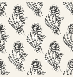 Skeleton hand with rose seamless pattern vector