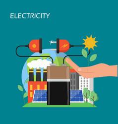 solar panels electricity concept flat vector image