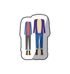 Sticker color silhouette with casual clothes with vector