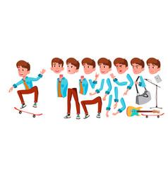 Teen boy animation creation set face vector