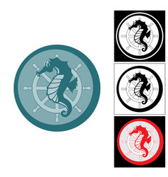 The logo of the seahorse and sea helm vector