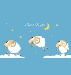 three jumping sheep vector image
