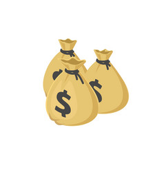 three money bags cartoon 3d vector image