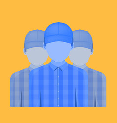 Three people with no emotion on their face on a vector