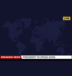 Tv breaking news screen background vector