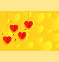 yellow background with red hanging paper hearts vector image