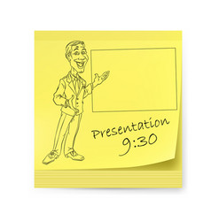 Yellow sticker with man and organizing vector