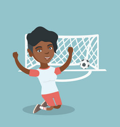 Young african soccer player celebrating a goal vector