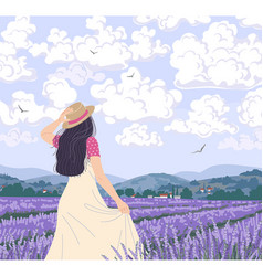 Young woman enjoys lavender field vector