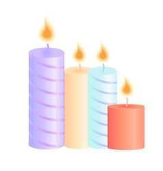 a set of burning candles decoration for christmas vector image vector image