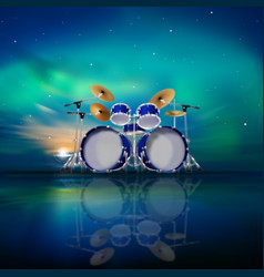 abstract music background with sunrise drum kit vector image vector image