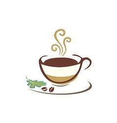 Coffee cup organic eco logo vector