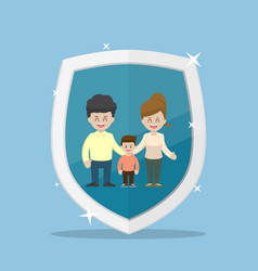 family character inside the insurance shield vector image vector image